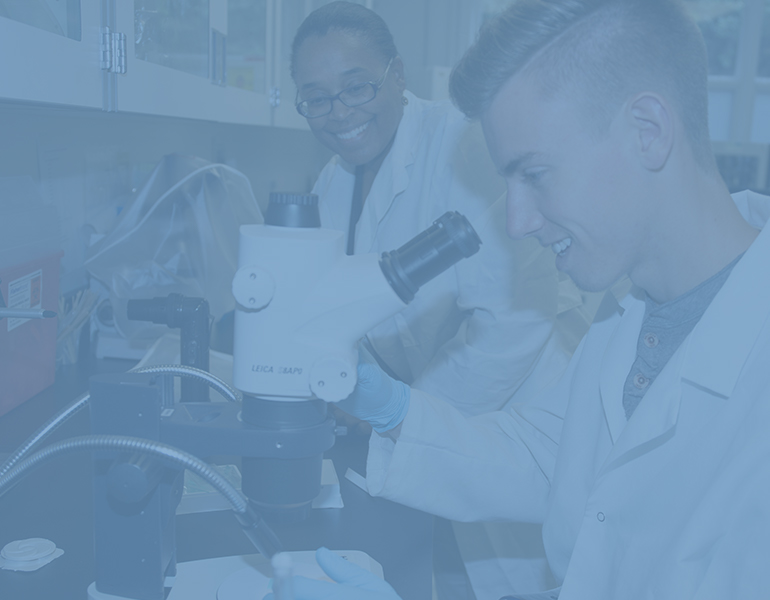 Male CALS student in a white lab coat looking into a microscope as the professor watches