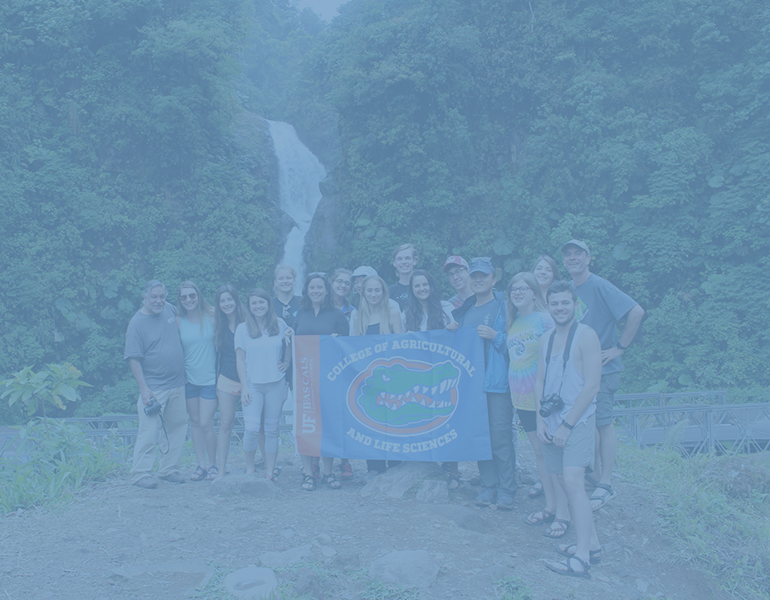 Group of CALS students posing for a photograph in front of a waterfall in Costa Rica holding a UF banner.