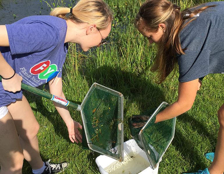 Two female prospective CALS students stand in the grass and remove pond debris they collected in large hand held nets on poles and put the net contents into a white tub.